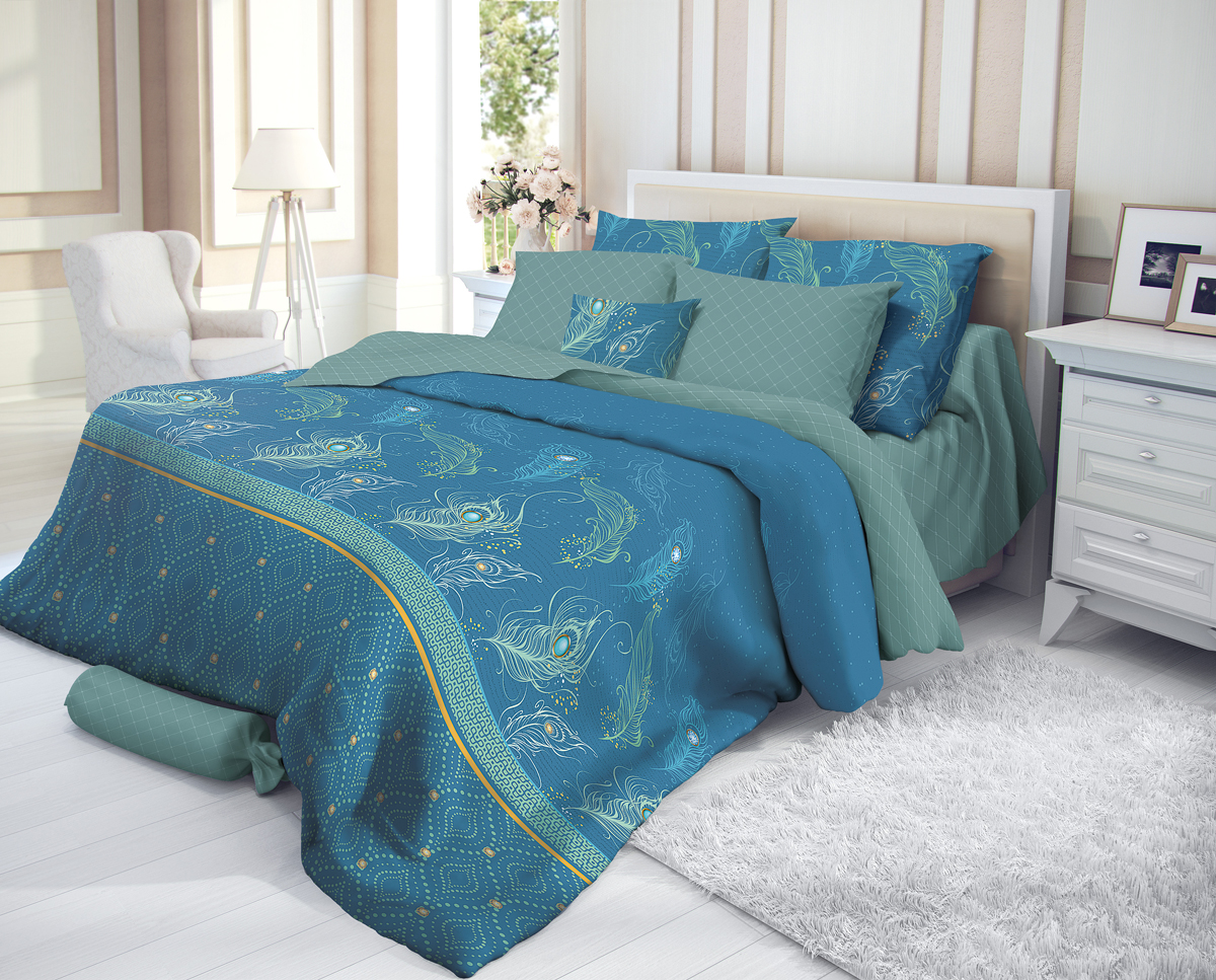 """Комплект белья Verossa """"Emerald"""", 1,5-спальный, наволочки 50х70, цвет: синий"""