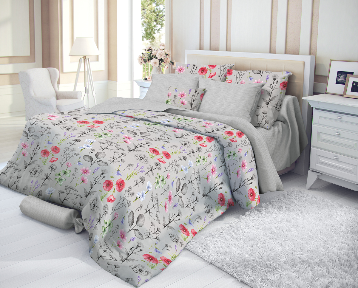 """Комплект белья Verossa """"Impress"""", 1,5-спальный, наволочки 50х70, цвет: серый"""