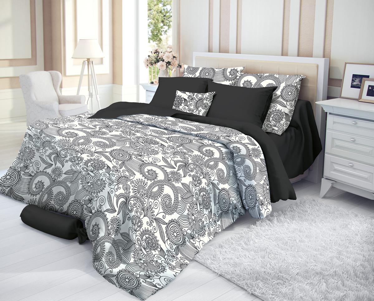 """Комплект белья Verossa """"Guise"""", 1,5-спальный, наволочки 50х70, цвет: черный"""