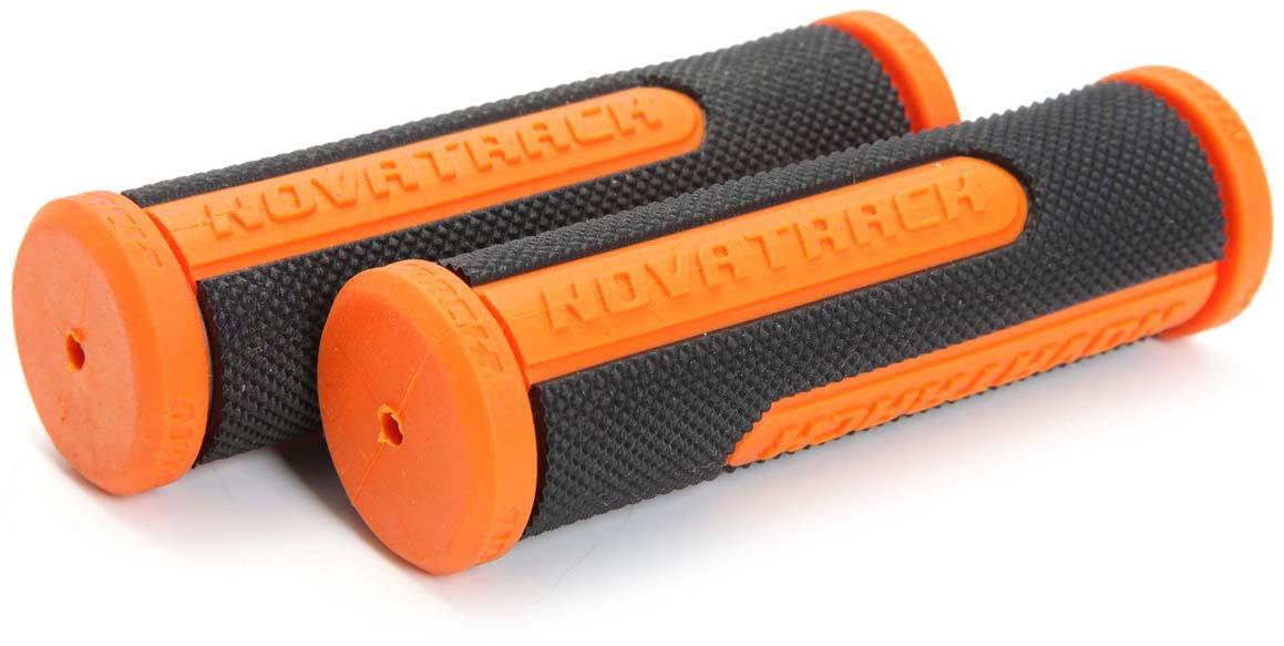 """Грипсы Novatrack """"РТ1585С"""", цвет: черный, оранжевый, 110 мм, 2 шт"""