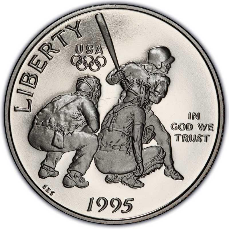 Монета номиналом 50 центов 1995 США Олимпиада в Атланте, Бейсбол Proof монета номиналом 3 рубля 50 лет победы на курской дуге proof в капсуле россия 1993 год