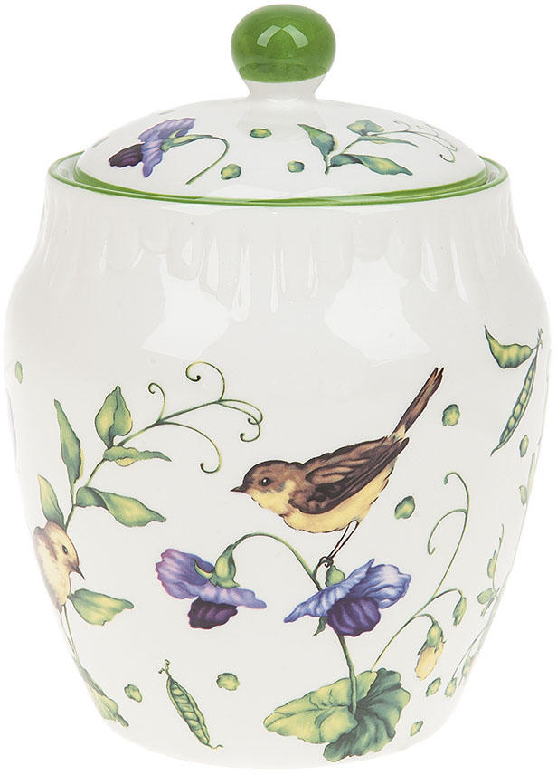 Банка для сыпучих продуктов Best Home Porcelain Луговой горошек, 1,15 л банка для сыпучих продуктов клипс садовая ягода h 17см 772273