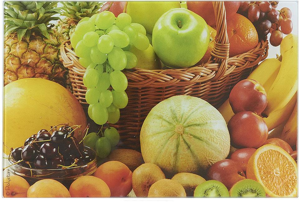 Доска разделочная Best Home Kitchen Фруктовый урожай, стеклянная, 20 х 30 х 0,5 см доска разделочная bekker 30 х 20 х 2 см