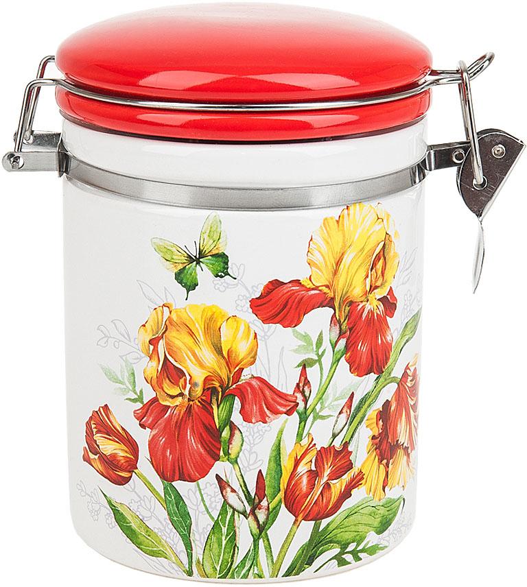 Банка для сыпучих продуктов Polystar Collection Касатик, с зажимом-клипсой, 600 мл банка для сыпучих продуктов клипс садовая ягода h 17см 772273
