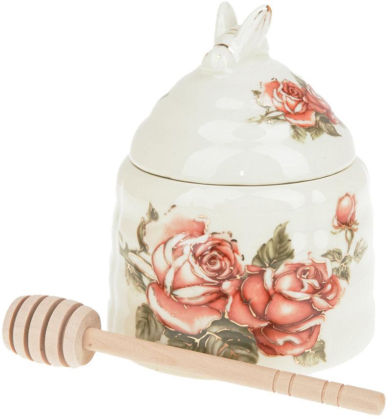 Банка для меда Best Home Porcelain Рубиновые розы, с палочкой, 10 х 10 х 13 см чайник заварочный best home porcelain рубиновые розы 1 л