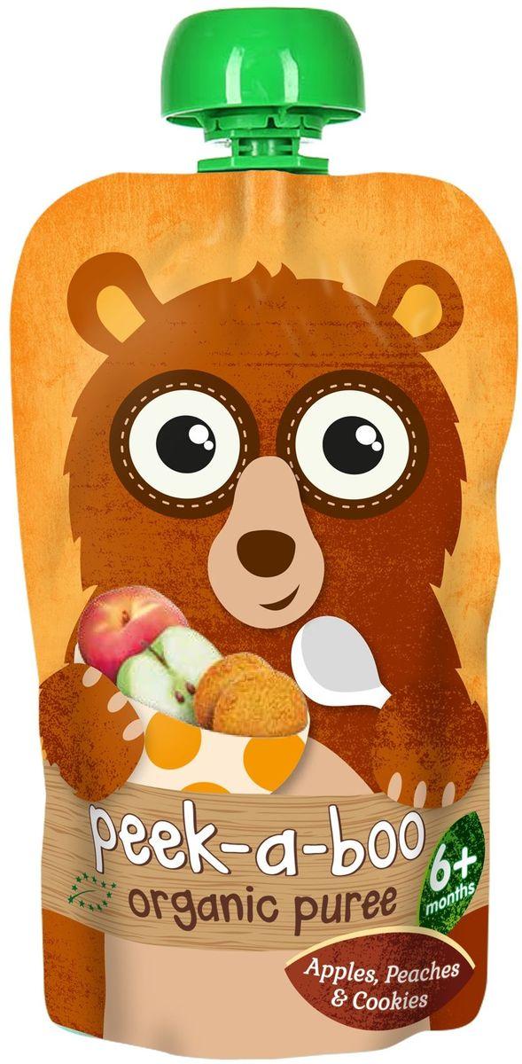 Peek-a-boo пюре органическое фруктовое из яблок, персиков со вкусом печенья, с 6 месяцев, 113 г