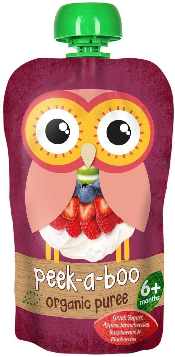 """Peek-a-boo пюре органическое фруктово-йогуртное """"Греческий йогурт с ягодами"""", с 6 месяцев, 113 г"""