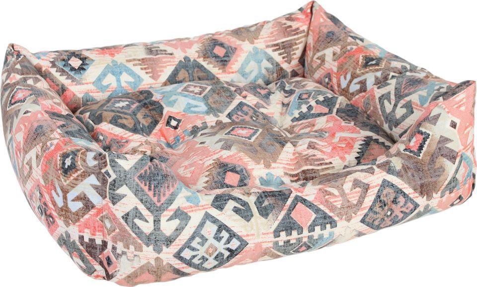 Лежак для животных Pride Этнос, цвет: бежевый, розовый, 60 х 50 х 18 см