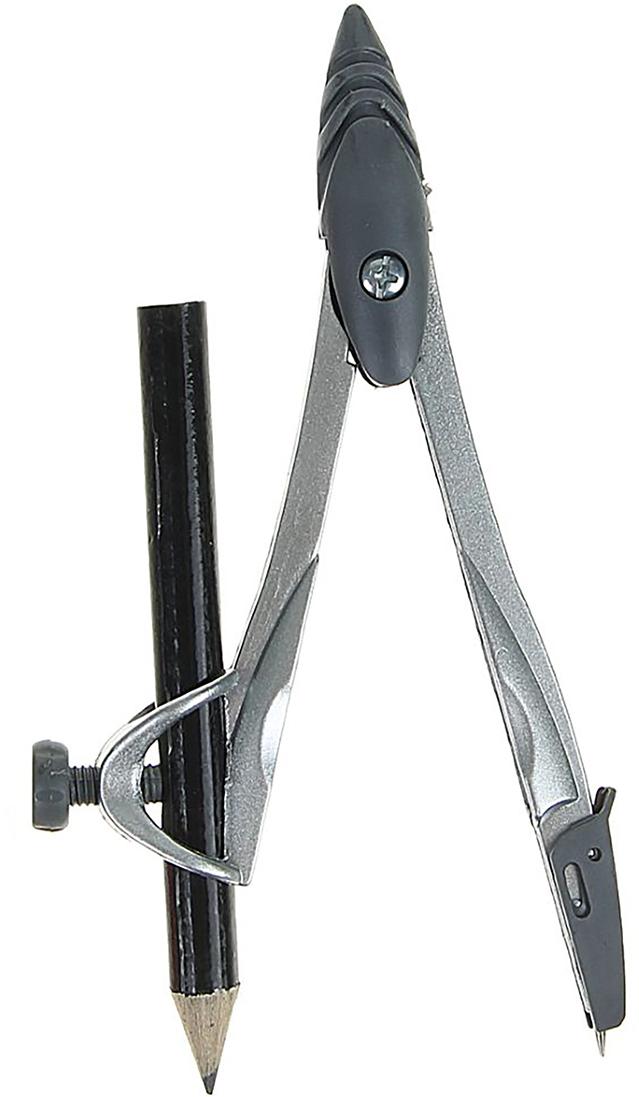 Циркуль с карандашом цвет серый металлик серый 1723681 циркуль 15см пластиковый с карандашом