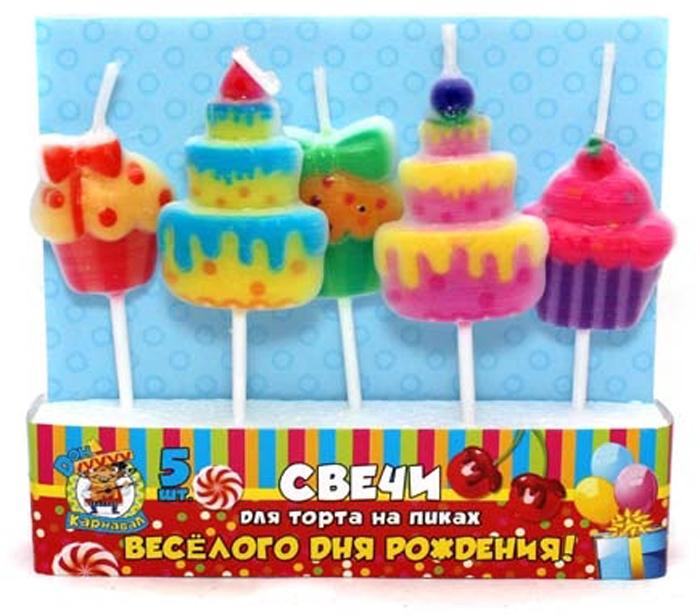 Miland Свечи для торта Веселого Дня Рождения 5 шт miland свечи для торта футбольный матч 5 шт