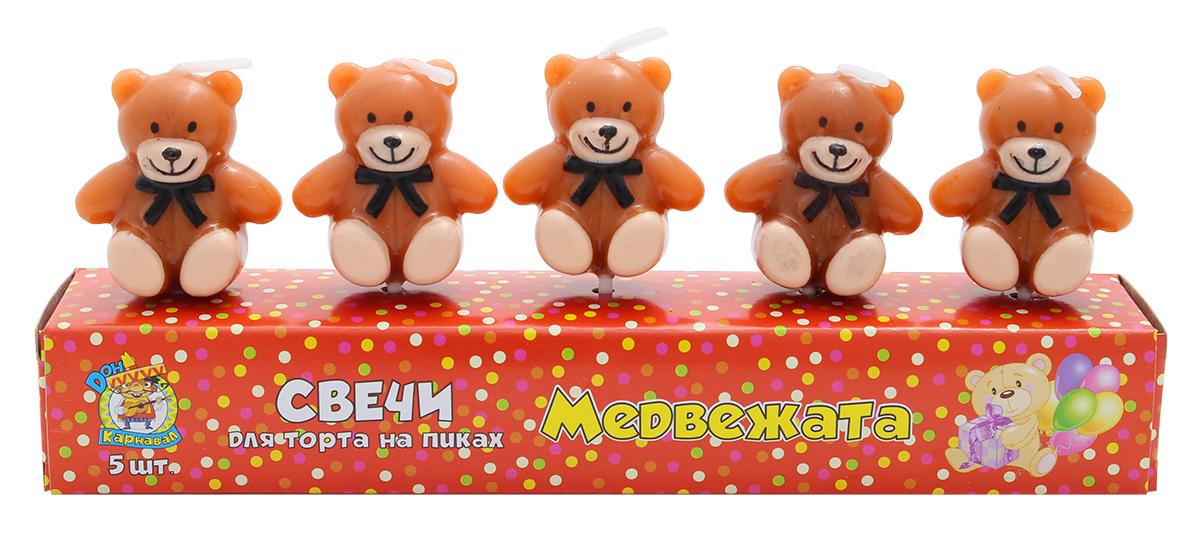 Miland Свечи для торта Медвежата 5 шт miland свечи для торта футбольный матч 5 шт