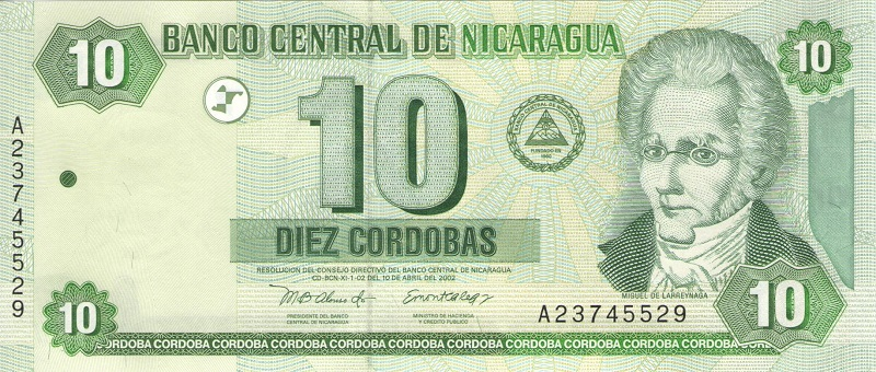 Банкнота номиналом 10 кордоб. Никарагуа. 2002 год банкнота номиналом 2 кордоба никарагуа 1972 год