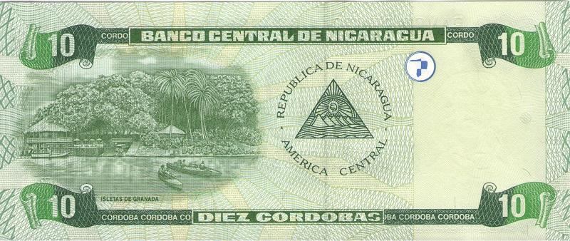 Банкнота номиналом 10 кордоб. Никарагуа. 2002 год