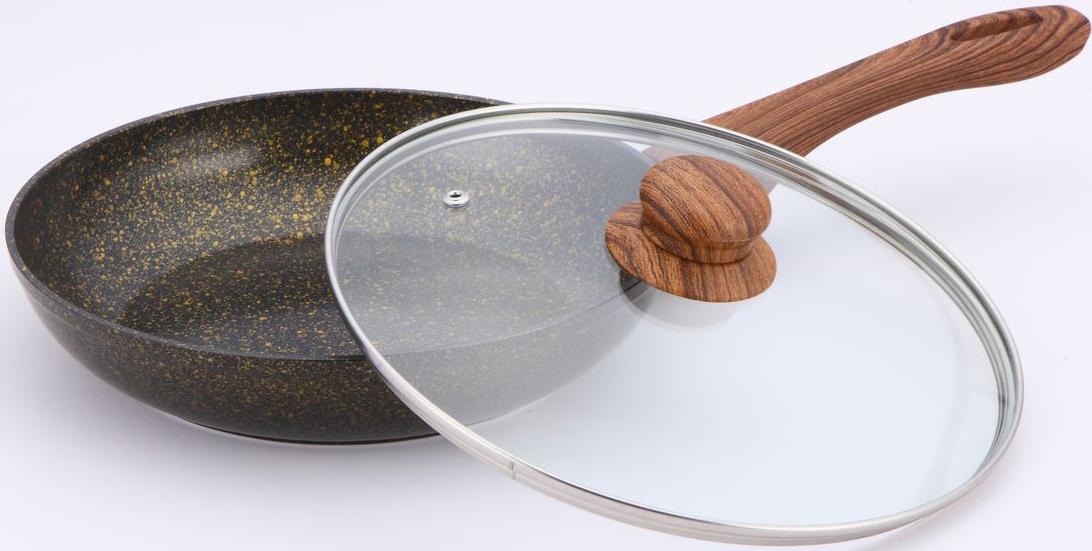 Сковорода Bekker Garnet с крышкой, с мраморным покрытием. Диаметр 26 см. BK-7941