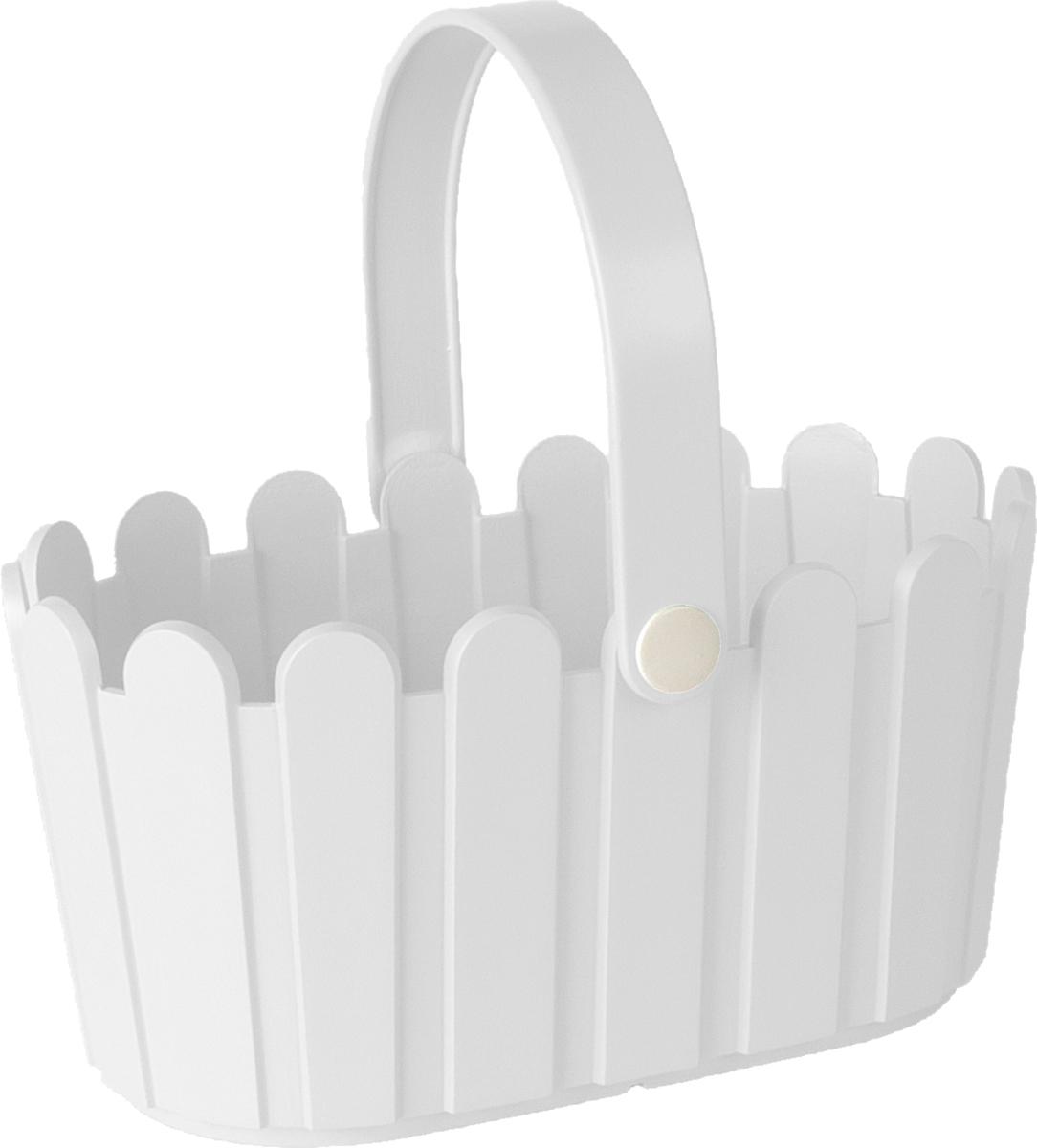 Кашпо Emsa Landhaus Basket, цвет: белый, 28 х 18 см ящик балконный emsa landhaus цвет темно зеленый 50 х 20 х 16 см