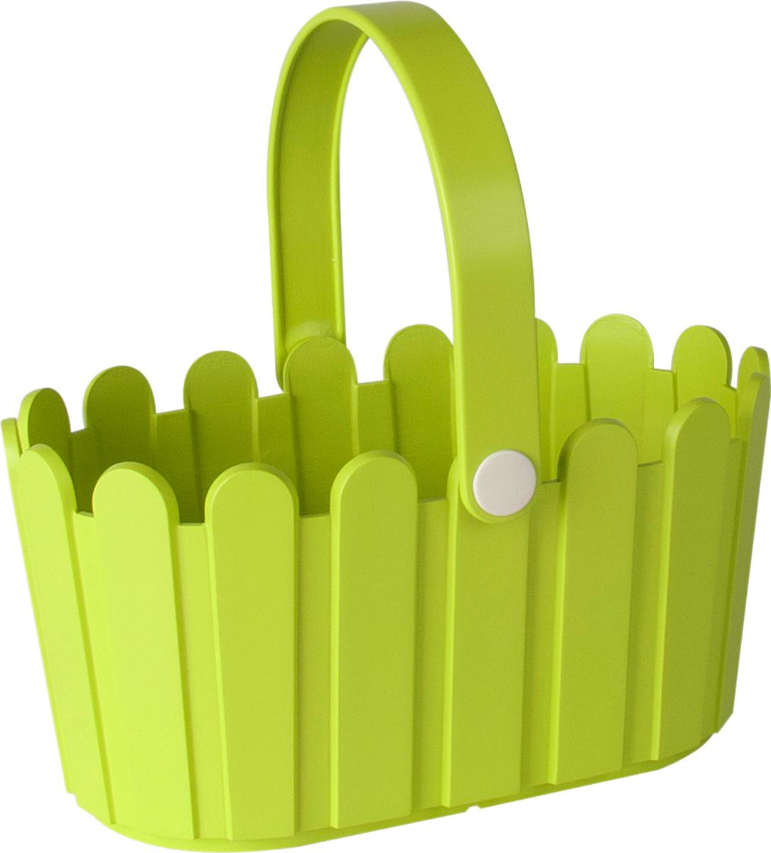 Кашпо Emsa Landhaus Basket, цвет: салатовый, 28 х 18 см ящик балконный emsa landhaus цвет темно зеленый 50 х 20 х 16 см