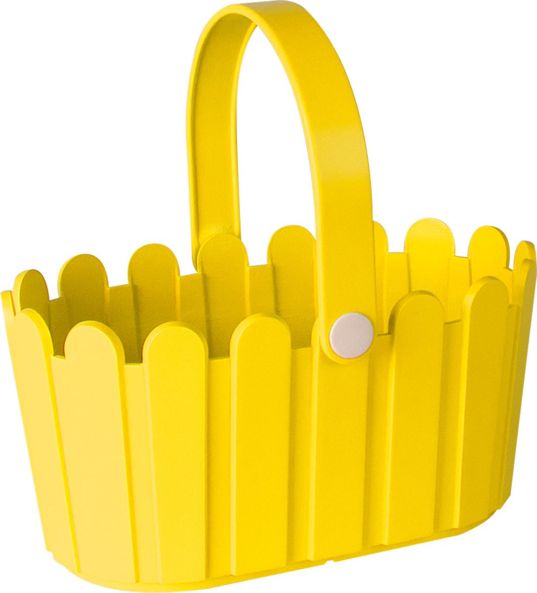 Кашпо Emsa Landhaus Basket, цвет: желтый, 28 х 18 см ящик балконный emsa landhaus цвет темно зеленый 50 х 20 х 16 см