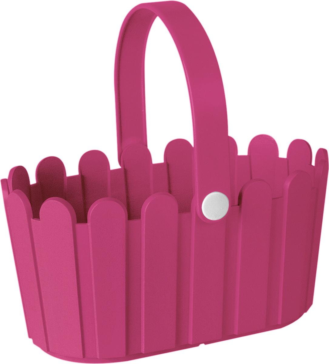 Кашпо Emsa Landhaus Basket, цвет: ярко-розовый, 28 х 18 см ящик балконный emsa landhaus цвет темно зеленый 50 х 20 х 16 см