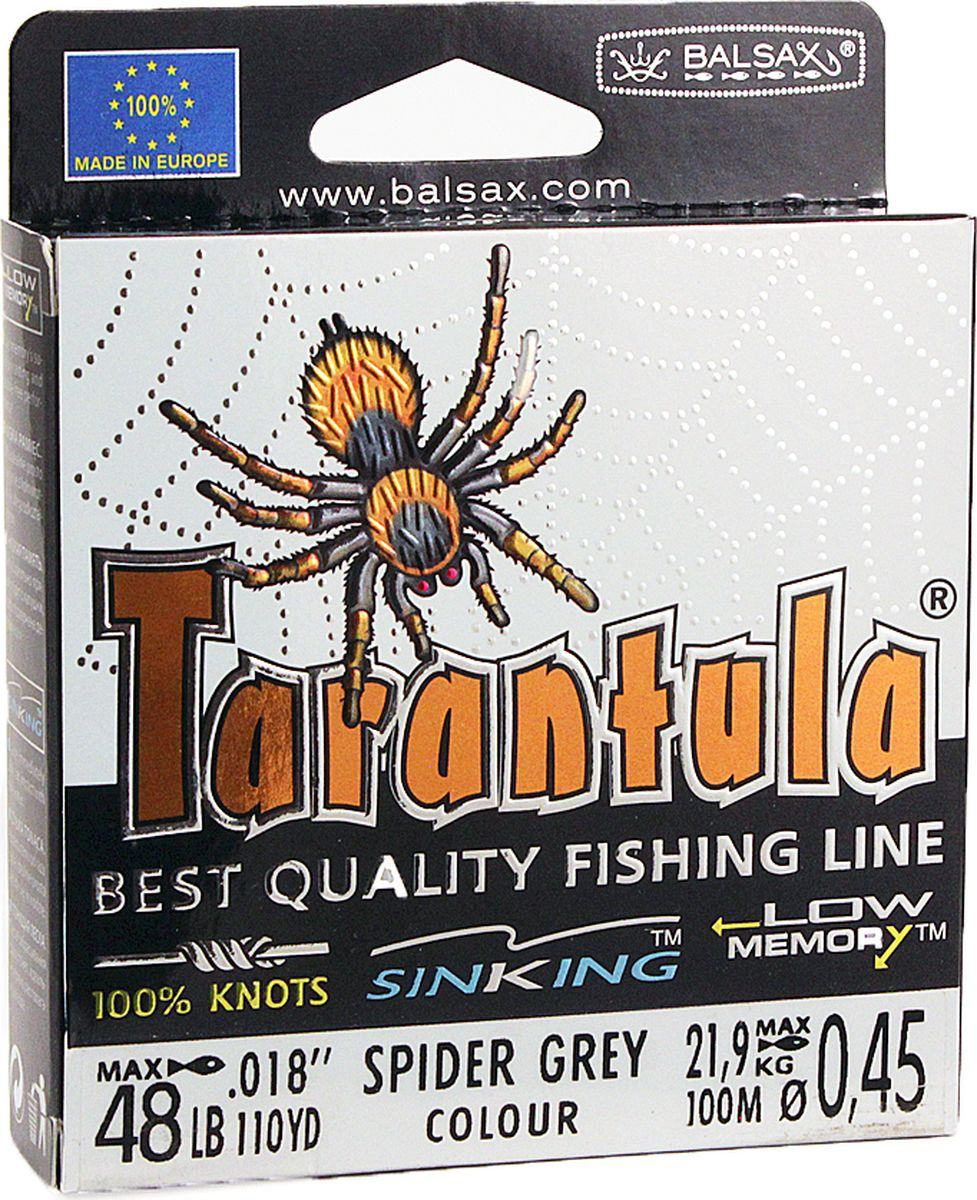 Леска Balsax Tarantula, 100 м, 0,45 мм, 21,9 кг леска balsax tarantula 100 м 0 55 мм 29 7 кг