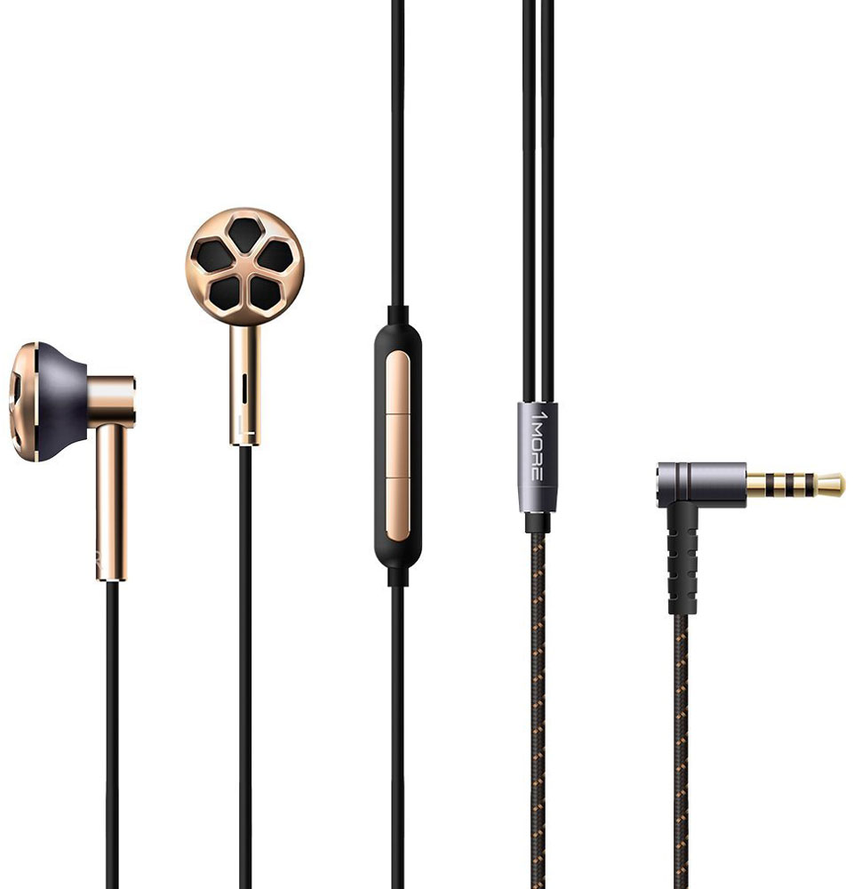 Наушники 1MORE E1008 Dual Driver, Gold наушники 1more stylish dual dynamic in ear e1025 black