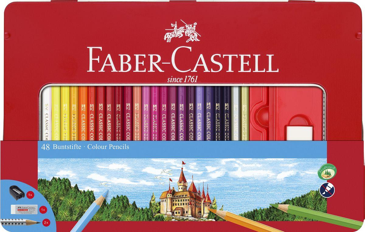Faber-Castell Набор карандашей Замок 48 шт с ластиком и точилкой карандаши восковые мелки пастель faber castell цветные карандаши замок в картонной коробке 6 шт