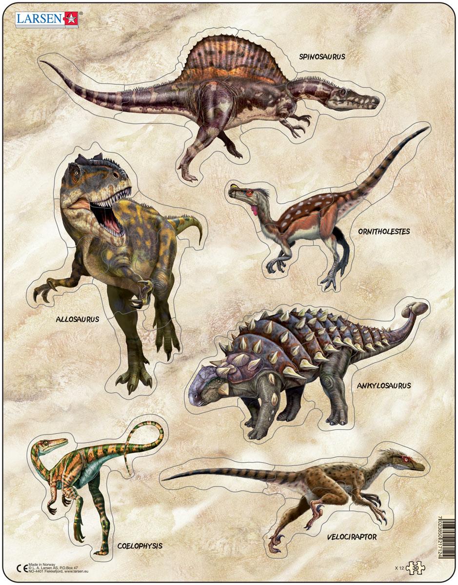 Larsen Пазл Динозавры X12 larsen пазл скотный двор