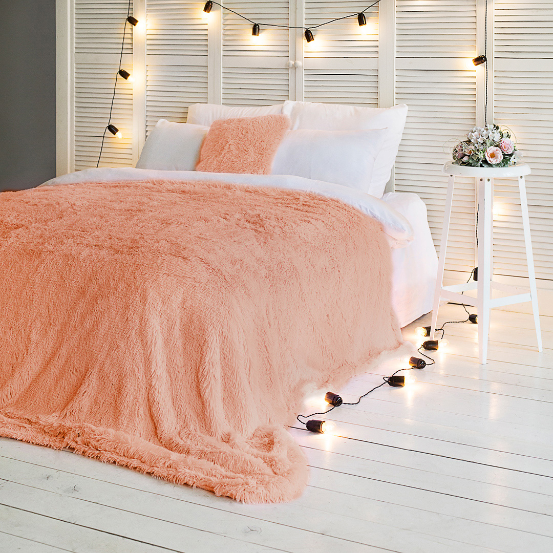 Плед-покрывало Dome Taeppe, цвет: абрикосовый, 200 х 220 см жакет без рукавов из искусственного меха