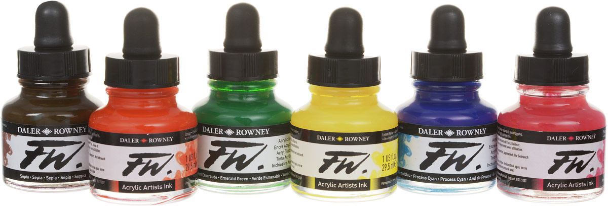 Daler Rowney Набор чернил основных цветов FW Artists 6 цветов 29,5 мл