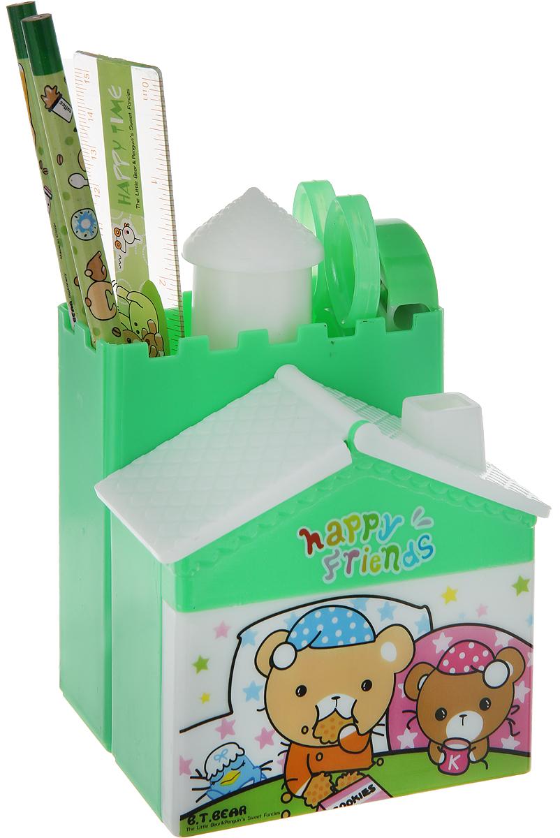 B.T.Bear Канцелярский набор Домик цвет зеленый 6 предметов 1399390 канцелярский набор домик цвет салатовый 6 предметов 679326