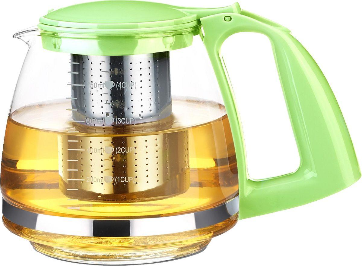 Чайник заварочный TimA Имбирь, с фильтром, цвет: салатовый, 750 млA091GRЧайник TimA Имбирь изготовлен из высококачественного жаропрочного стекла. Он очень легкий, красивый и удобный в эксплуатации. Чай в нем заваривается быстро. Благодаря прозрачности стекла, удобно оценить степень заваривания напитка. Заварочные чайники из жаропрочного стекла устойчивы как к высоким температурам, так и к их перепадам (выдерживают температуру до 100°C). Чайник имеет современный внешний вид, изготовлен из высококачественных безопасных материалов. Фильтр чайника выполнен из высококачественной нержавеющей стали. Изделие оснащено мерной шкалой. Чайник не предназначен для нагрева на плите или на открытом огне. Не рекомендуется мыть чайник в посудомоечной машине. Не ставьте горячий чайник на холодную поверхность, используйте подставку под горячее.