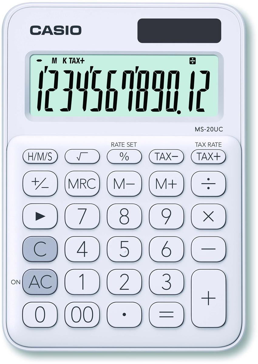 Casio калькулятор настольный MS-20UC-WE-S-EC цвет белый калькулятор casio ms 20uc lb s ec 12 разрядный светло голубой