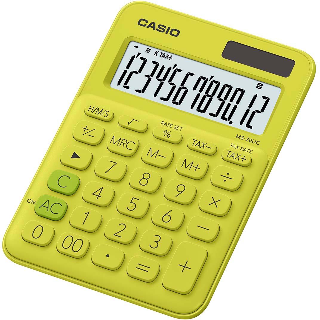 Casio калькулятор настольный MS-20UC-YG-S-EC цвет желтый зеленый калькулятор casio ms 20uc pk s uc 12 разрядный розовый