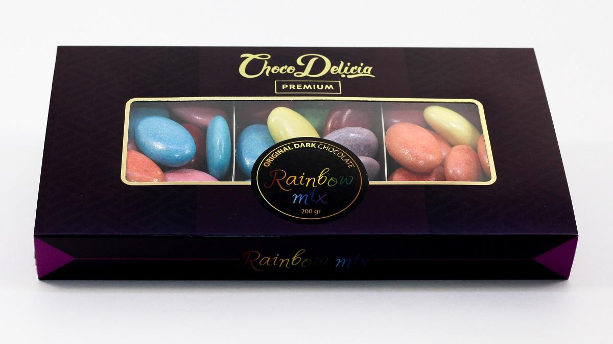 Choco Delicia Драже радужная серия микс, 200 гУТ000012984Турецкий шоколад - это самобытный шоколад со своими традициями, своим видением вкусового баланса, своими особенностями. Это шоколад, в который невозможно не влюбиться и к которому невозможно остаться равнодушным. Турецкий шоколад - это нечто особенное в шоколаде. А во то что именно - становится понятно, лишь попробовав.