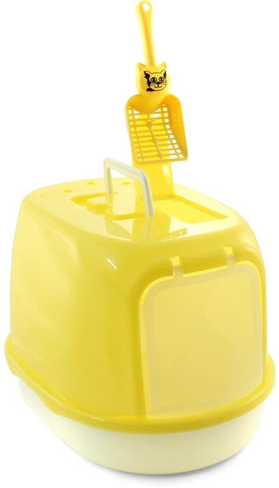 """Туалет для кошек """"Triol"""", закрытый, с совком, цвет: желтый, 50 х 35 х 34 см"""