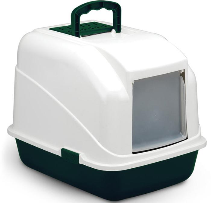 Туалет для кошек Triol, закрытый, с совком, цвет: зеленый, 48 х 40 х 41 см туалет для кошек triol закрытый c совком и сеткой 51 3 х 38 8 х 43 3 см