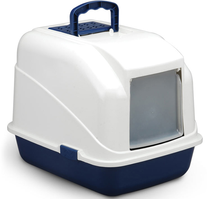 Туалет для кошек Triol, закрытый, с совком, цвет: синий, 48 х 40 х 41 см туалет для кошек triol закрытый c совком и сеткой 51 3 х 38 8 х 43 3 см