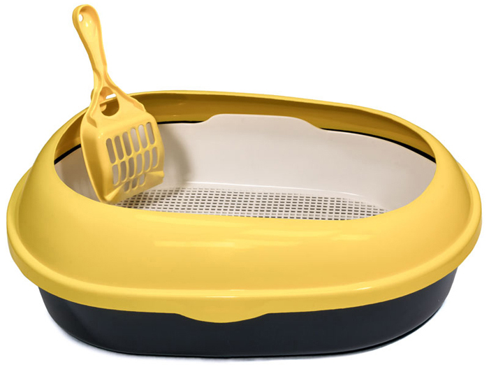 Туалет для кошек Triol, овальный, с бортом и совком, цвет: желтый, 50 х 37 х 17 см туалет для кошек triol закрытый c совком и сеткой 51 3 х 38 8 х 43 3 см