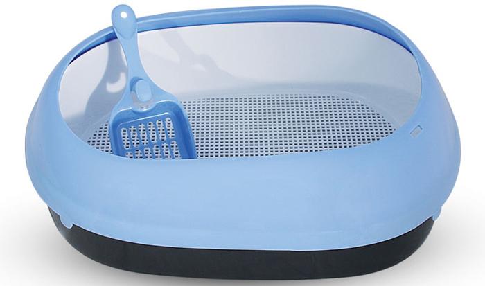Туалет для кошек Triol, овальный, с бортом и совком, цвет: голубой, 50 х 37 х 17 см туалет для кошек triol закрытый c совком и сеткой 51 3 х 38 8 х 43 3 см