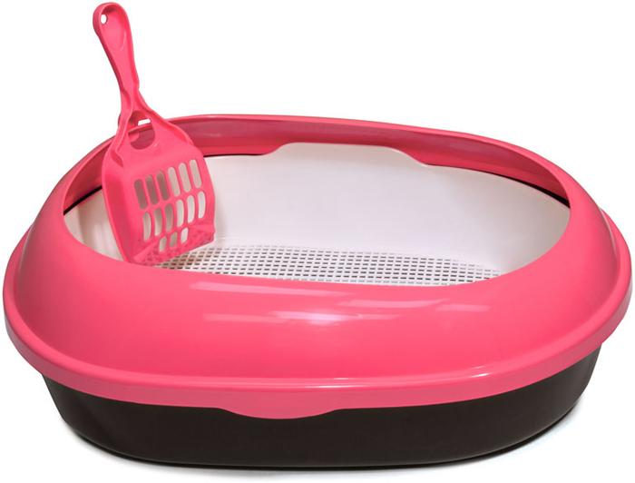 Туалет для кошек Triol, овальный, с бортом и совком, цвет: розовый, 50 х 37 х 17 см туалет для кошек triol закрытый c совком и сеткой 51 3 х 38 8 х 43 3 см