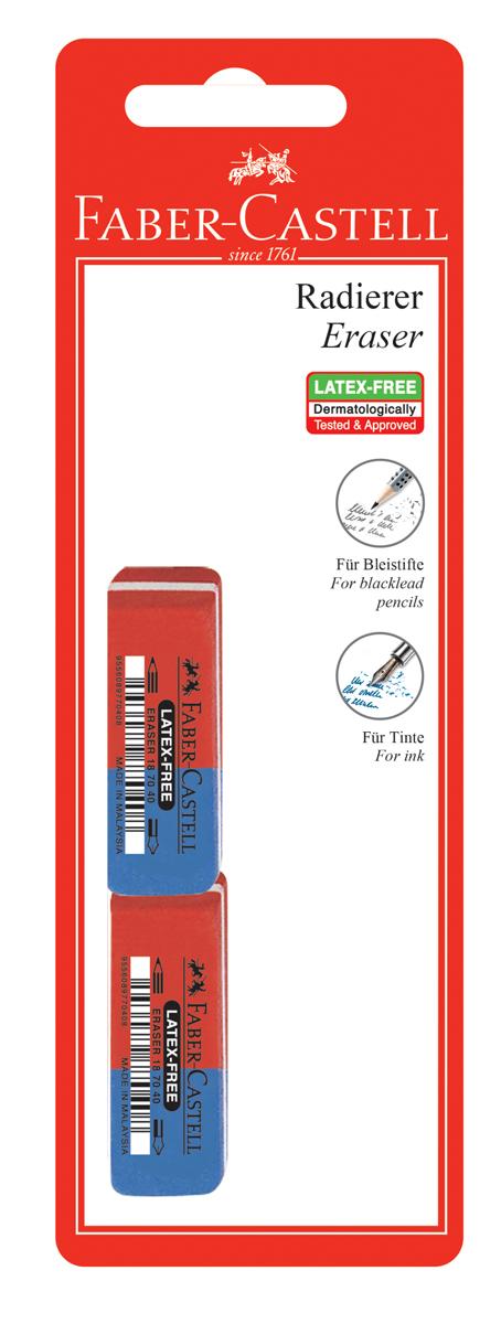 Faber-Castell Ластик 7070 цвет синий красный 2 шт faber castell корректор карандаш perfection 7056 2 шт