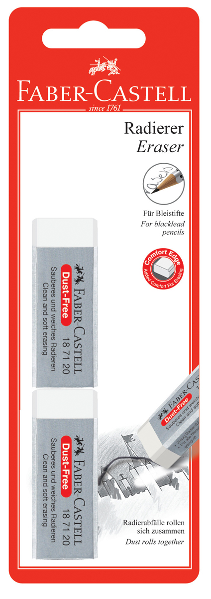 Faber-Castell Ластик Dust-Free цвет белый 2 шт ластик faber castell latex free 7008 40 цвет белый 2 шт
