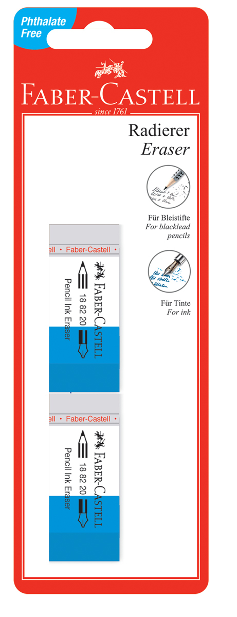 Faber-Castell Ластик 7082 цвет белый синий 2 шт faber castell корректор карандаш perfection 7056 2 шт
