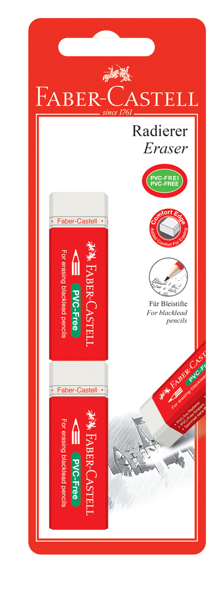 Faber-Castell Ластик 7095 цвет белый 2 шт ластик faber castell latex free 7008 40 цвет белый 2 шт