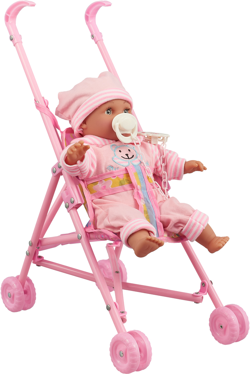 JUNnew Пупс с коляской цвет розовый