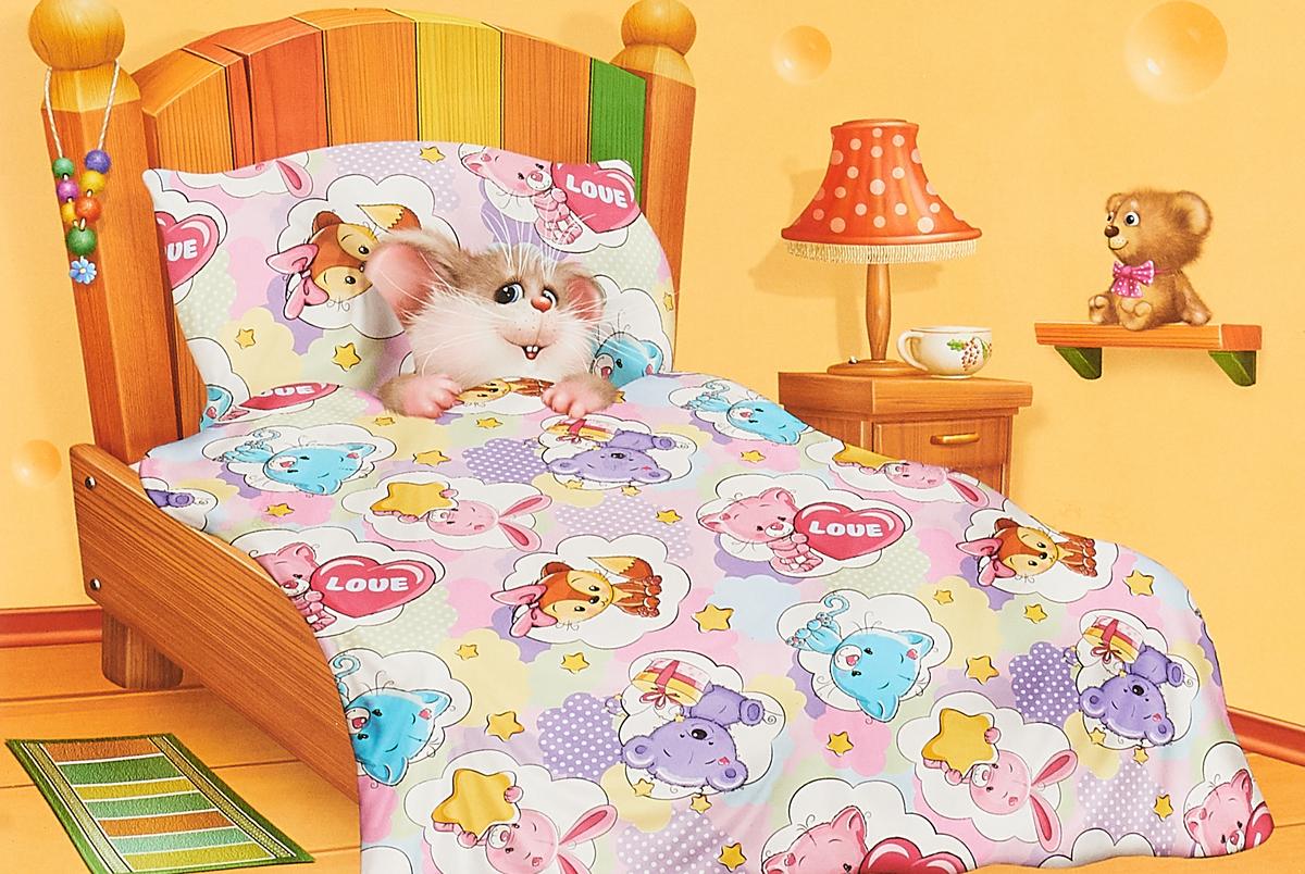 Комплект в кроватку Кошки-Мышки Зверята, детский, наволочка 40x60 наволочка для подушки кошки мышки