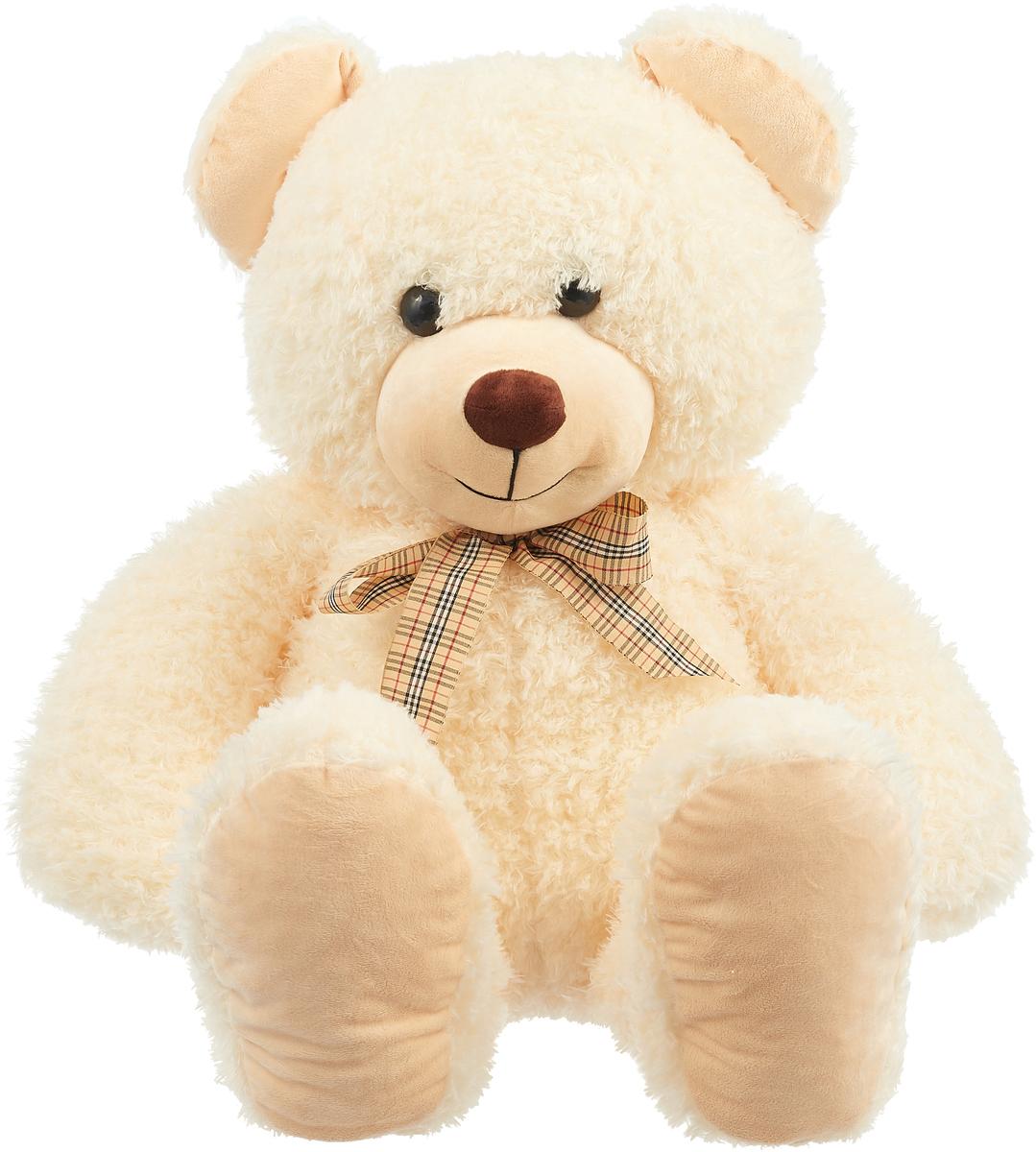 СмолТойс Мягкая игрушка Медведь цвет бежевый с бантиком 103 см смолтойс мягкая игрушка медвежонок монти 100 см