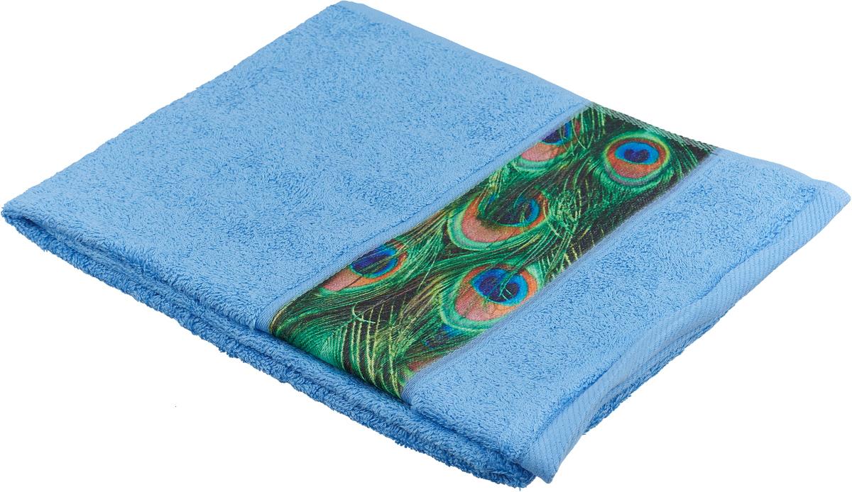 Полотенце банное Aquarelle Фотобордюр. Павлин 2, цвет: синий, 50 х 90 см. 709816 полотенце банное fiesta arabesca 50 90 см