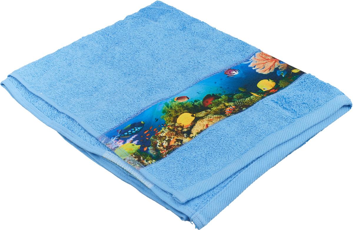 Полотенце банное Aquarelle Фотобордюр. Подводный мир, цвет: синий, 50 х 90 см. 712558 полотенце банное fiesta arabesca 50 90 см