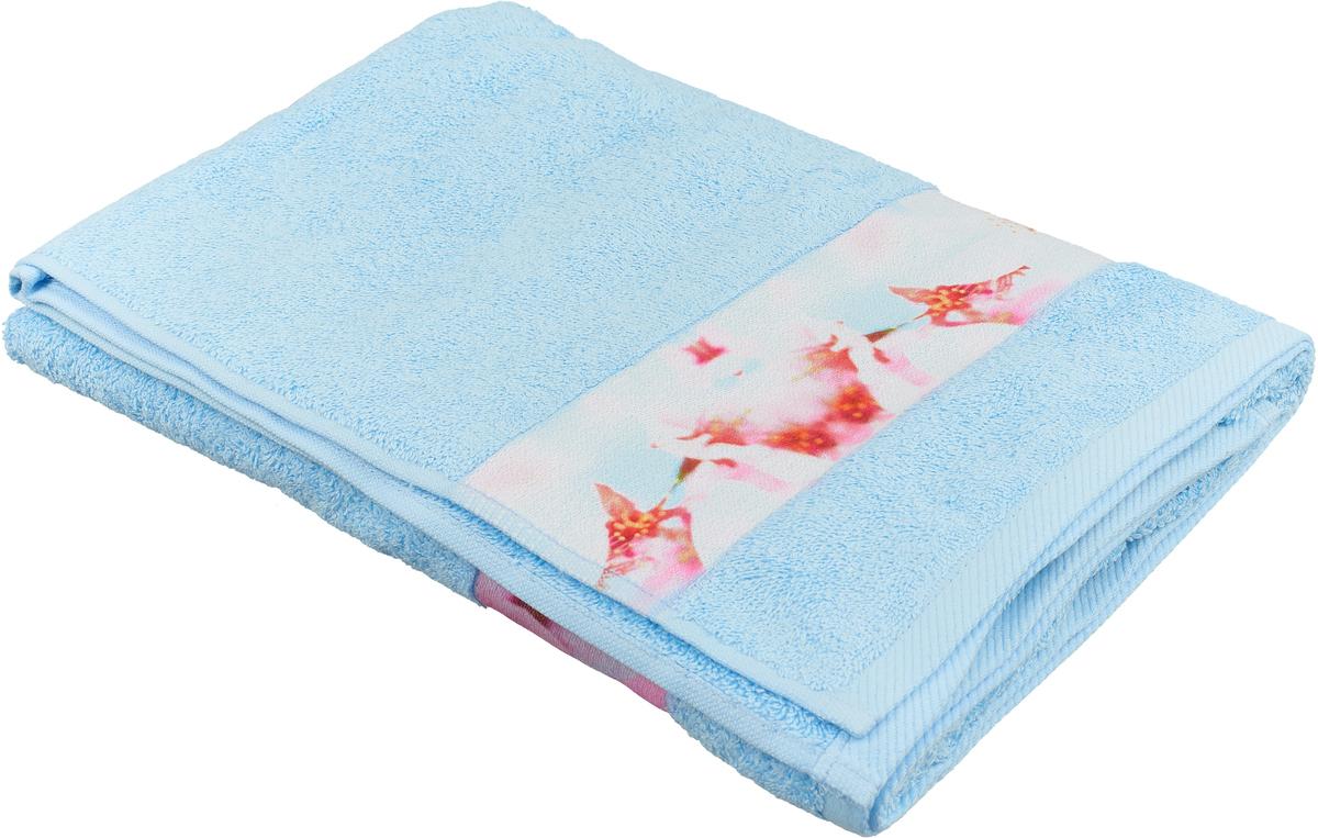 Полотенце банное Aquarelle Фотобордюр. Цветы 1, цвет: васильковый, 70 х 140 см. 709817 очиститель воздуха 540 х 140 х 140