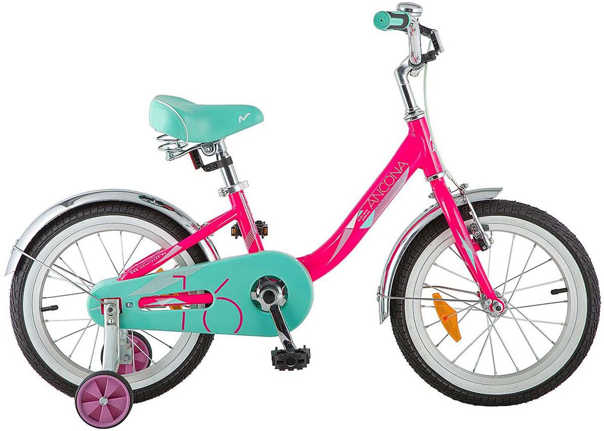 Велосипед детский Novatrack Ancona, цвет: розовый, 16 велосипед novatrack 16 зебра бордово белый 165 zebra clr6